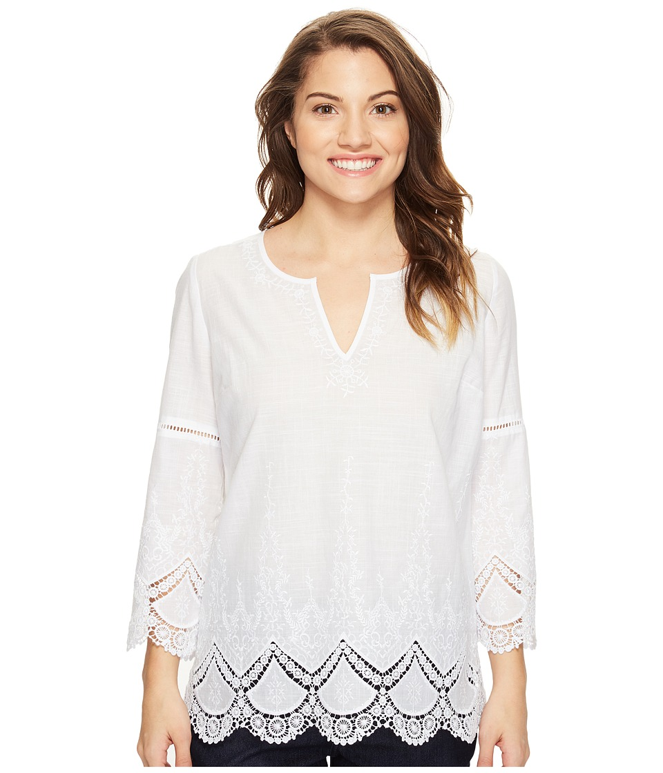 NYDJ Petite - Petite Callie Embroidered Tunic (Optic White) Women's Blouse