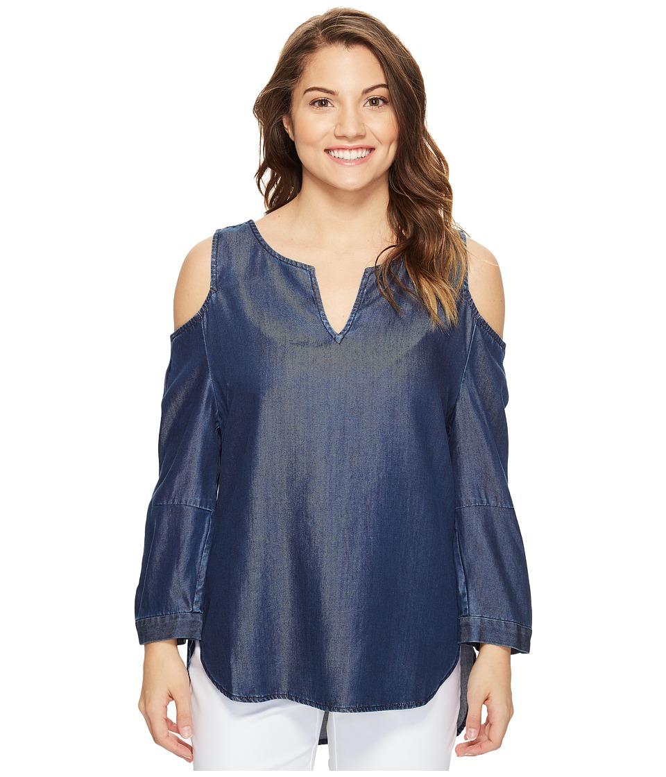 NYDJ Petite - Petite Agnes Colder Shoulder Top (Breton Dark Rinse) Women's Clothing