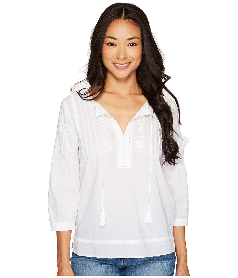 NYDJ Petite - Petite Embroidered Voile Top (Optic White) Women's Clothing