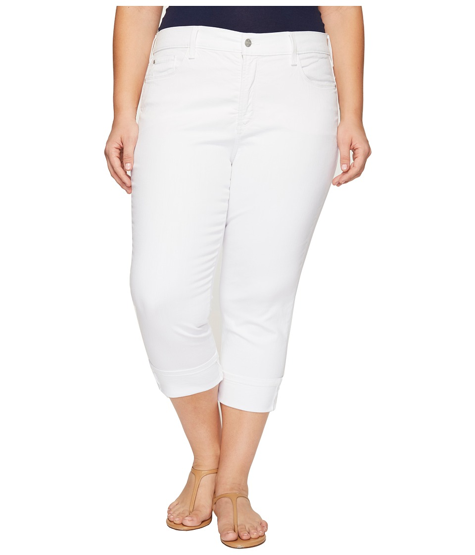 NYDJ Plus Size Plus Size Dayla Wide Cuff Capris in Optic White (Optic White) Women