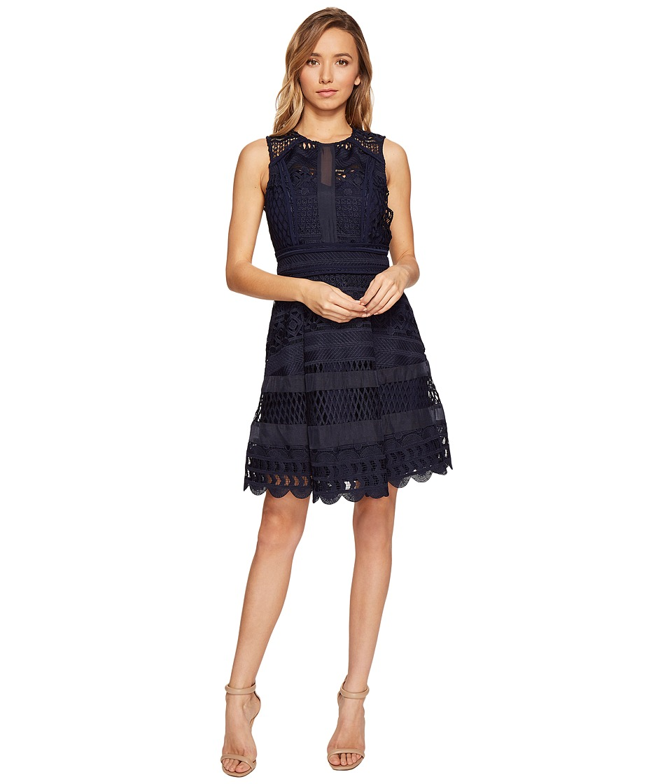 Adelyn Rae Lace Fit and Flare Dress (Navy) Women