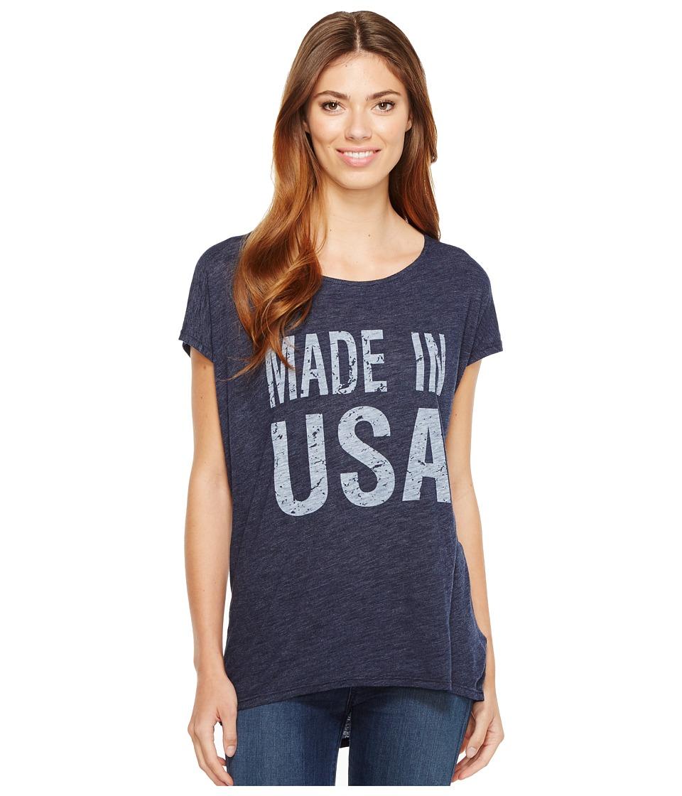 Allen Allen Made in USA Cap Sleeve Tee (Lapis) Women