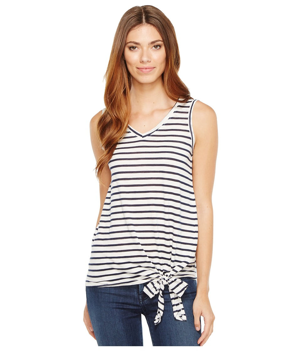 Allen Allen - Stripe Side Tie V-Neck Tank Top (White) Women's Sleeveless