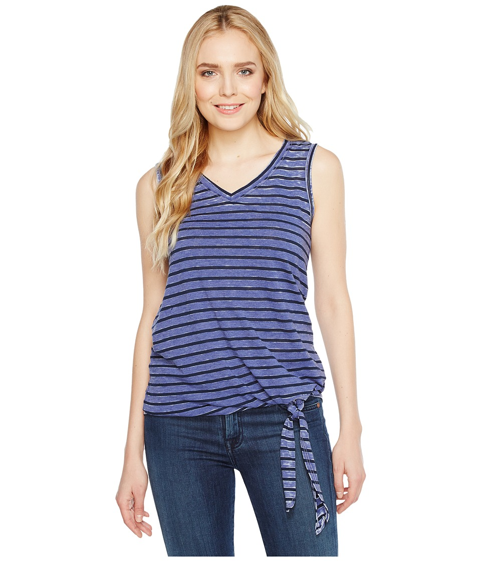 Allen Allen - Stripe Side Tie V-Neck Tank Top (New Blue) Women's Sleeveless