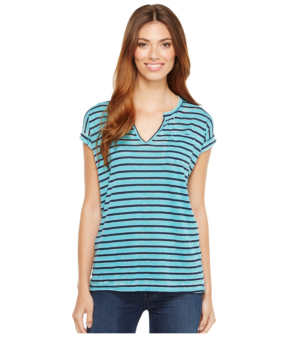 Allen Allen - Stripe Split-Neck Tee (Surf) Women's T Shirt