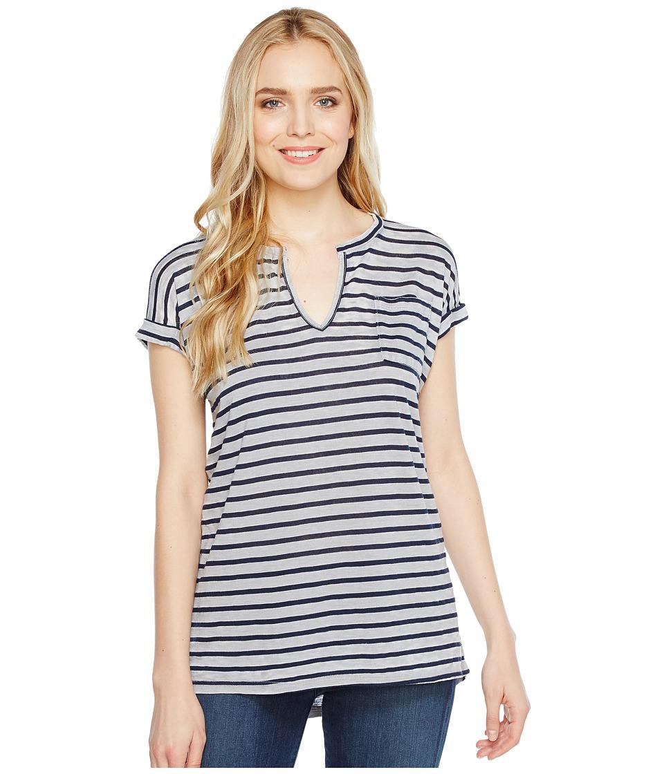 Allen Allen - Stripe Split-Neck Tee (Pale Grey) Women's T Shirt