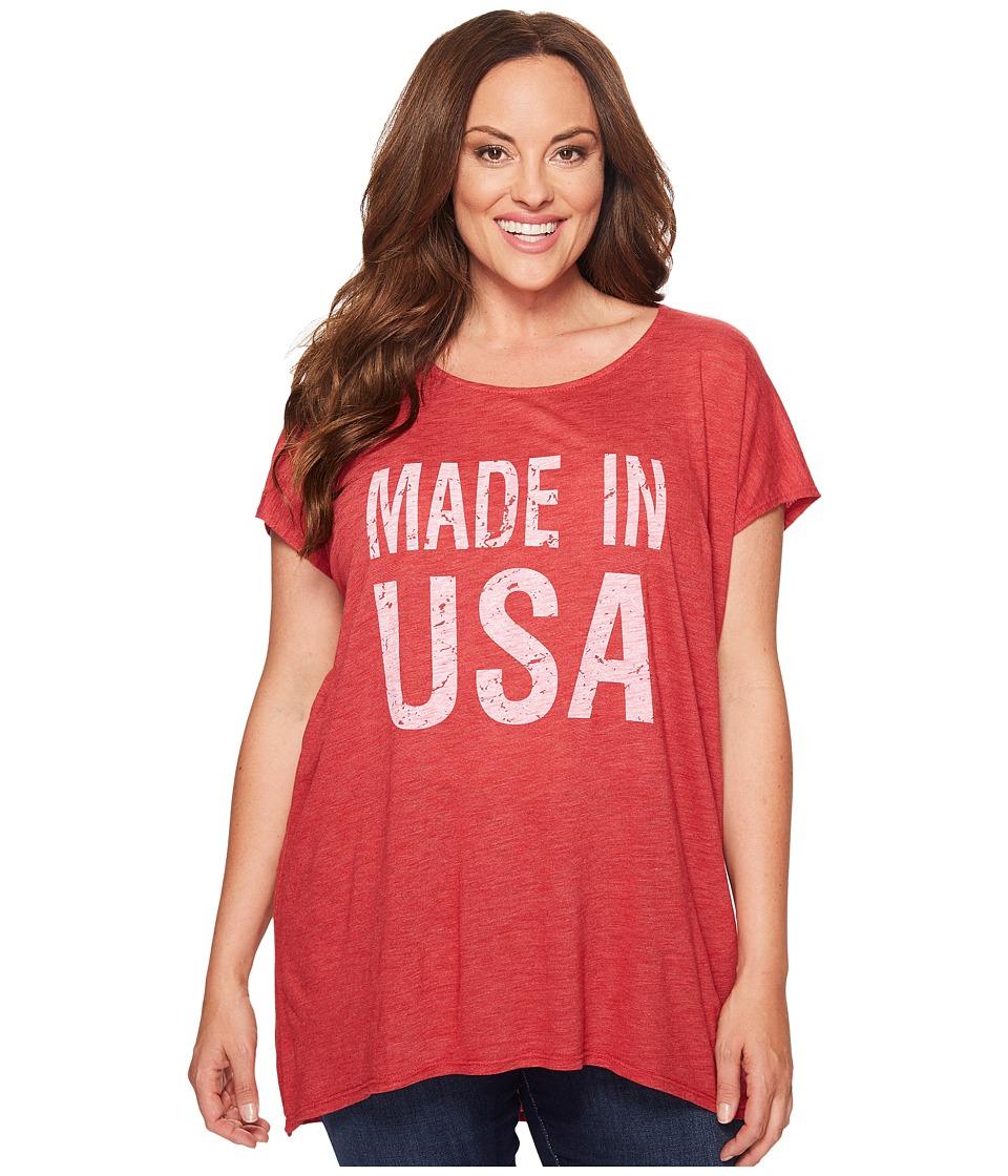 Allen Allen Plus Size Made in USA Cap Sleeve Tee (Rio) Women
