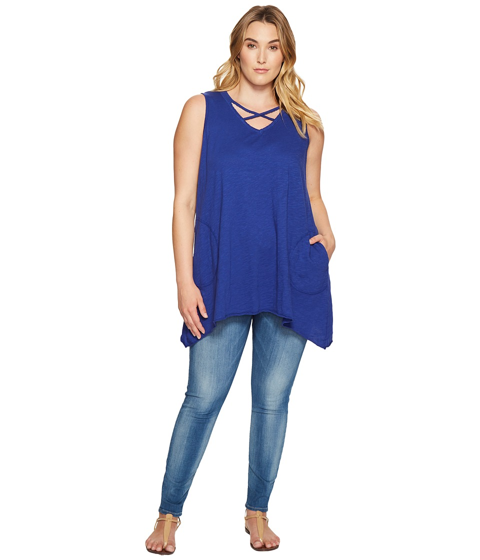 Allen Allen - Plus Size Crisscross Angled Tunic (New Blue) Women's Clothing