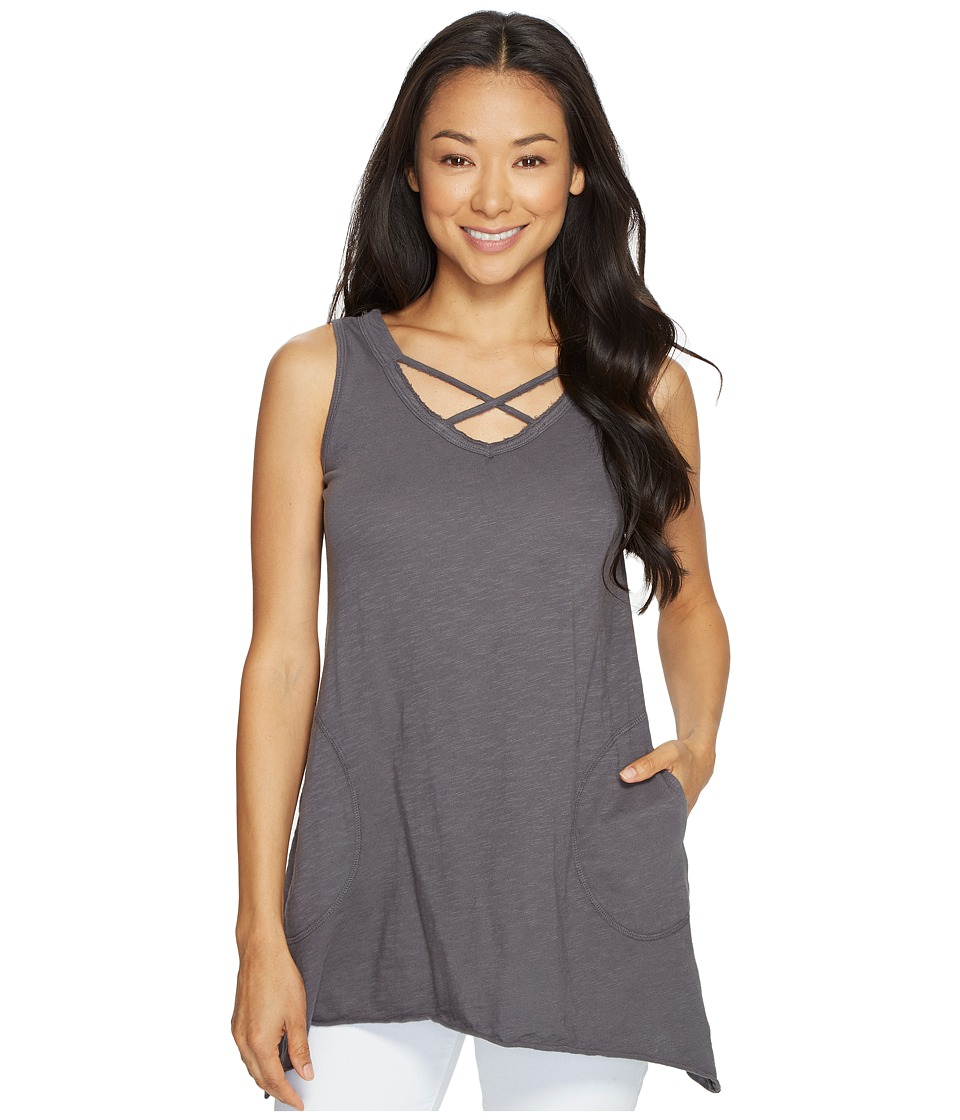 Allen Allen - Crisscross Angled Tunic (Dark Grey) Women's Clothing