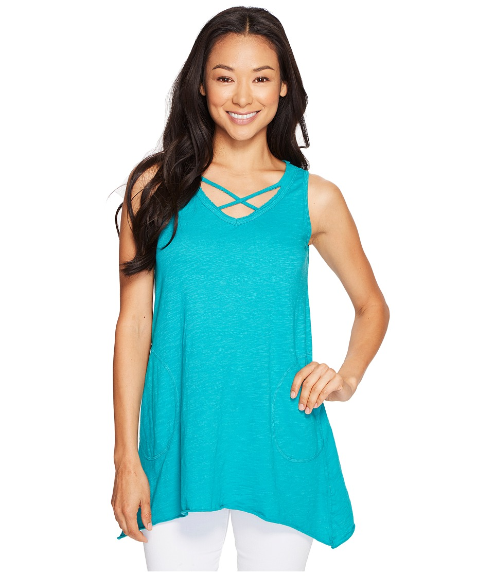 Allen Allen - Crisscross Angled Tunic (Surf) Women's Clothing