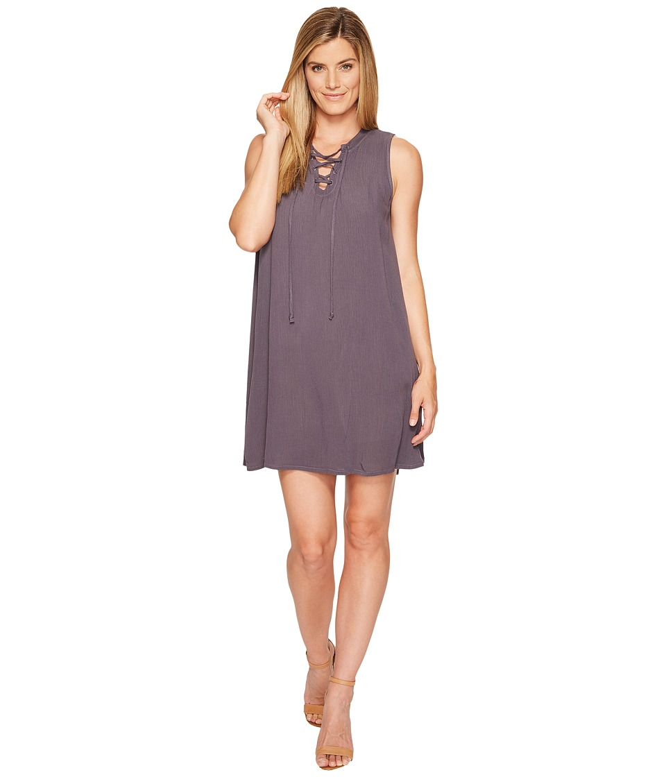 Allen Allen - Tie Front Tank Dress (Dark Grey) Women's Dress
