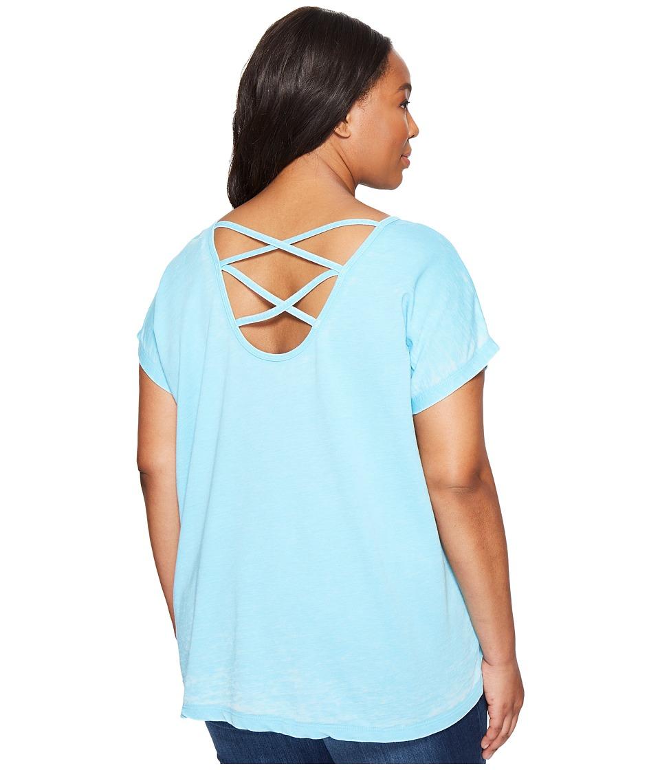 Allen Allen - Plus Size Double Cross Back Tee (Beach) Women's T Shirt