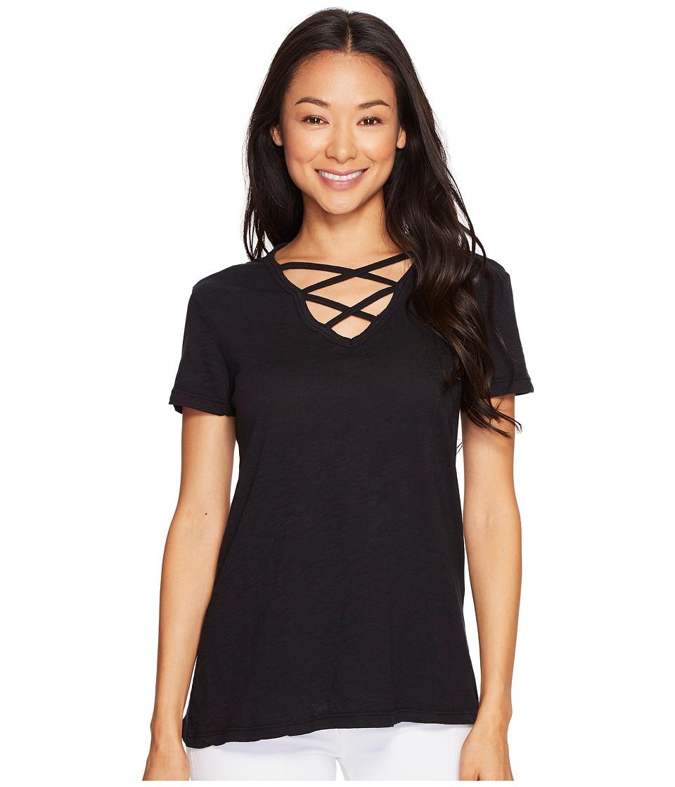 Allen Allen - Crisscross Front Tee (Black) Women's T Shirt