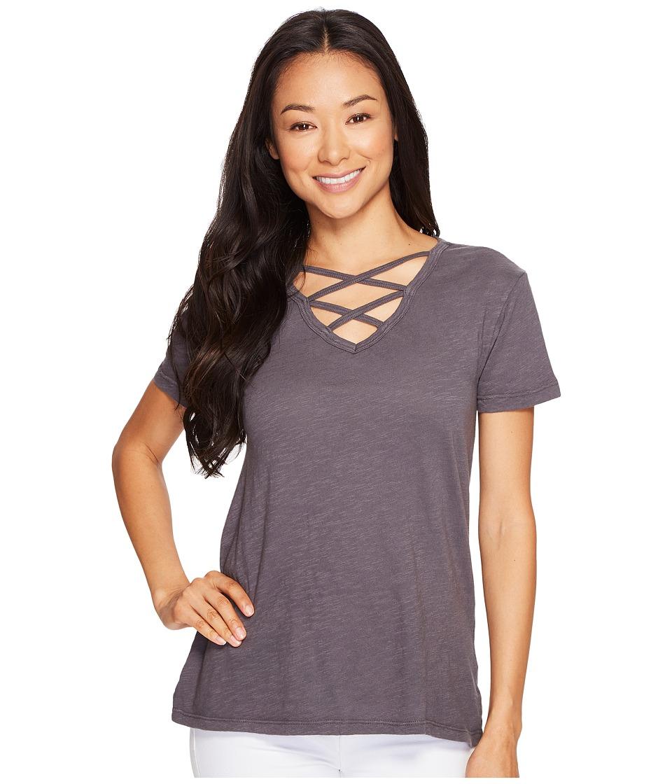 Allen Allen - Crisscross Front Tee (Dark Grey) Women's T Shirt