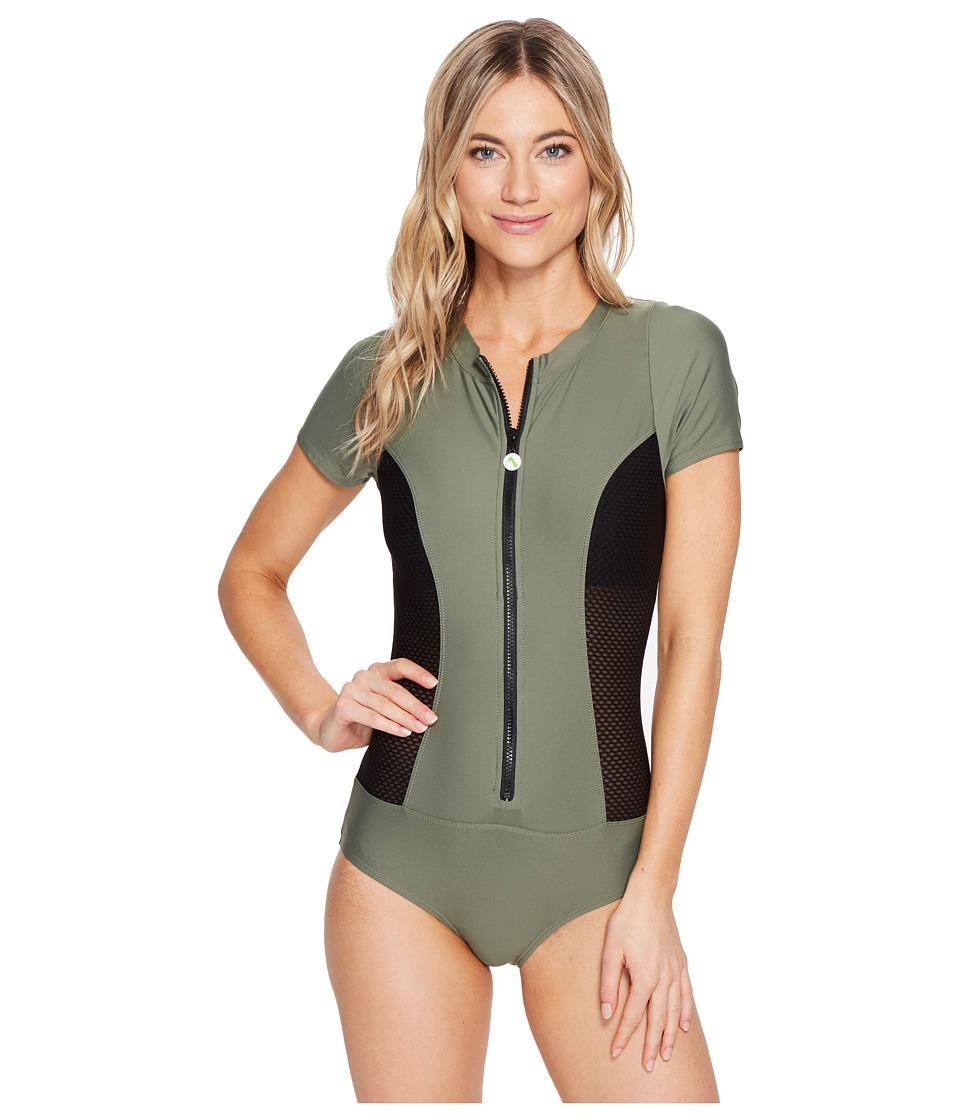 Next by Athena - Good Karma Malibu Mesh One-Piece (Olive) Women's Swimsuits One Piece