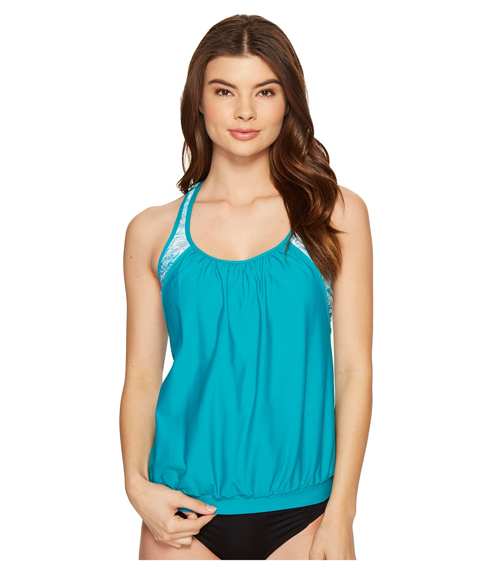 Next by Athena - Serenity Double Up 2 Tankini Top (Teal) Women's Swimwear
