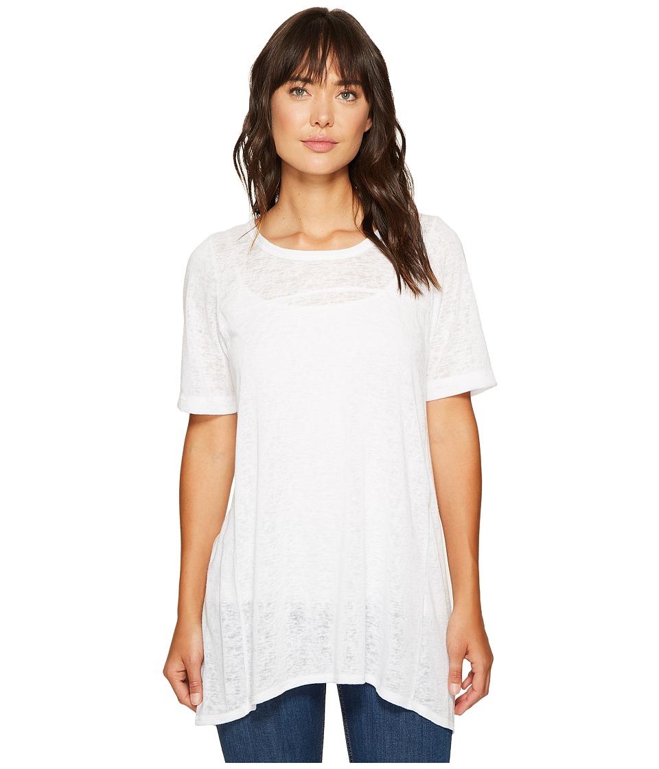 Nally & Millie - Panel Seam Slit Open Back Tunic (White) Women's Blouse