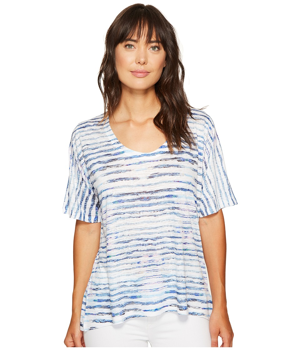 Nally & Millie - Printed Stripe Burnout Top (Multi) Women's Clothing