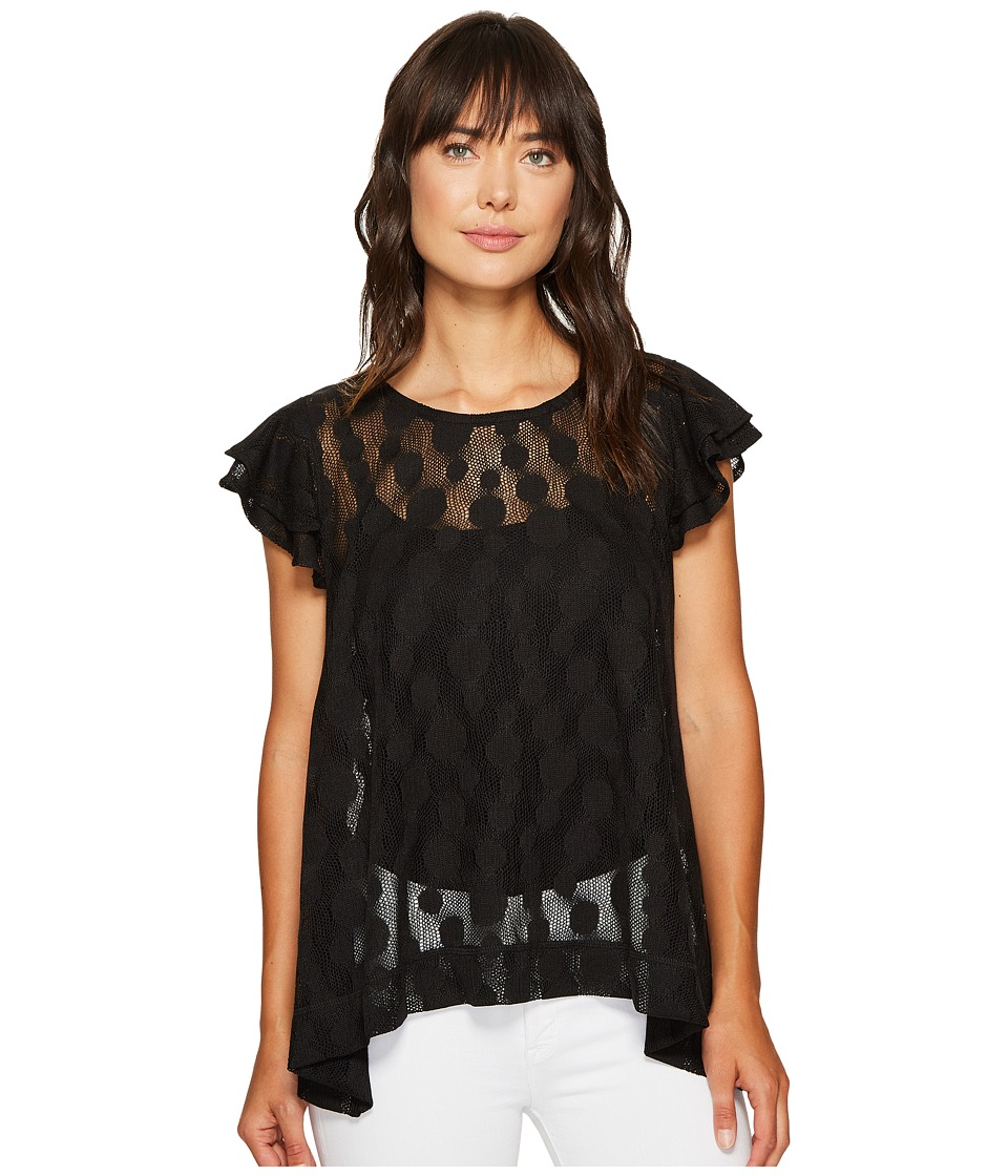 Nally & Millie - Double Ruffled Trapeze Top (Black) Women's Blouse