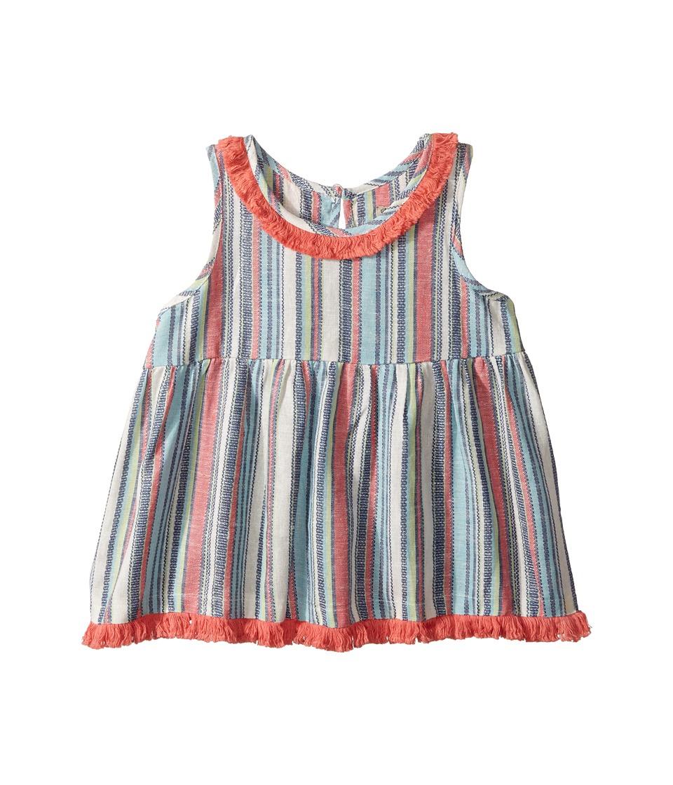 Lucky Brand Kids - Top w/ Fringe Trim (Little Kids) (Bright White) Girl's Short Sleeve Pullover