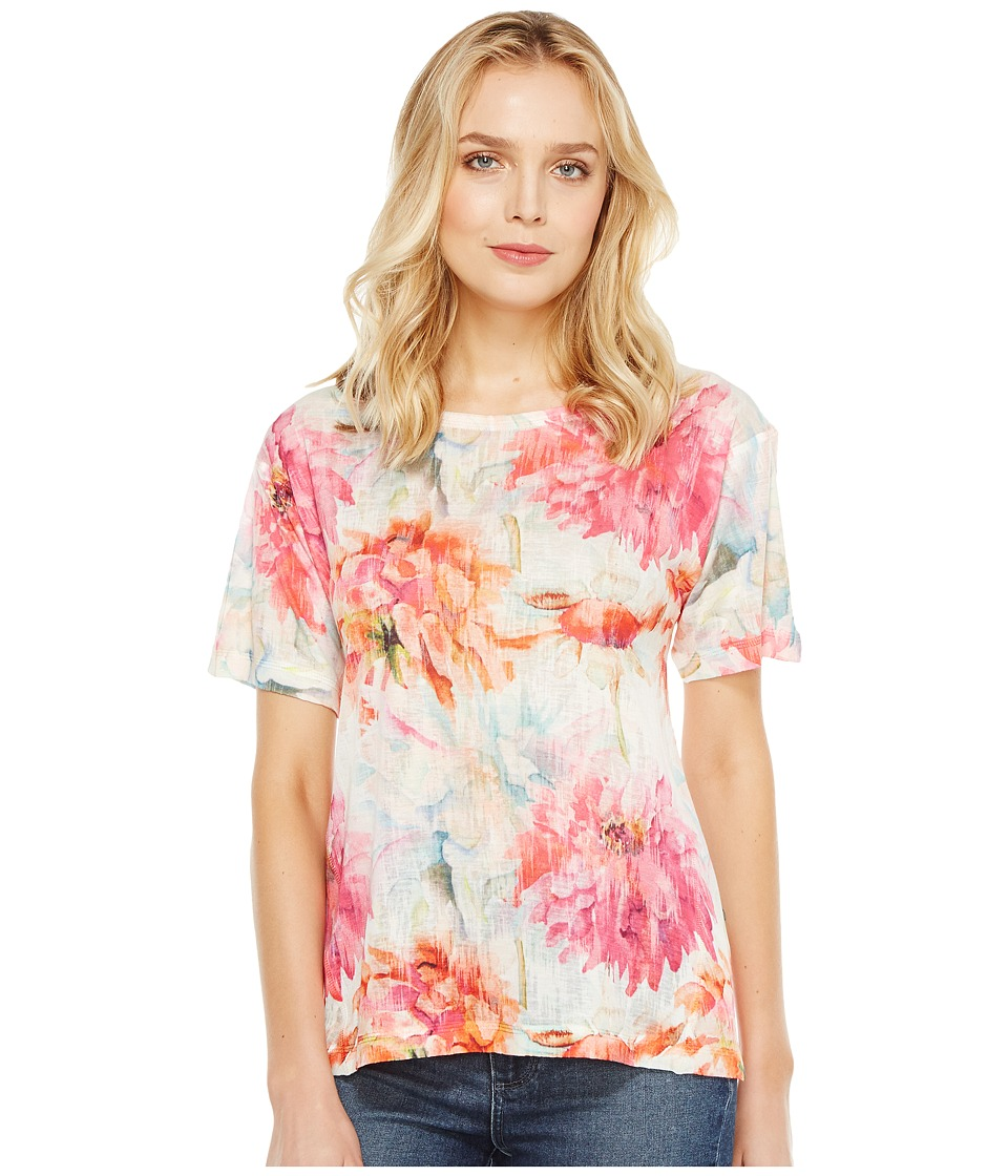 Nally & Millie - Floral Print Burnout Tee (Multi) Women's T Shirt