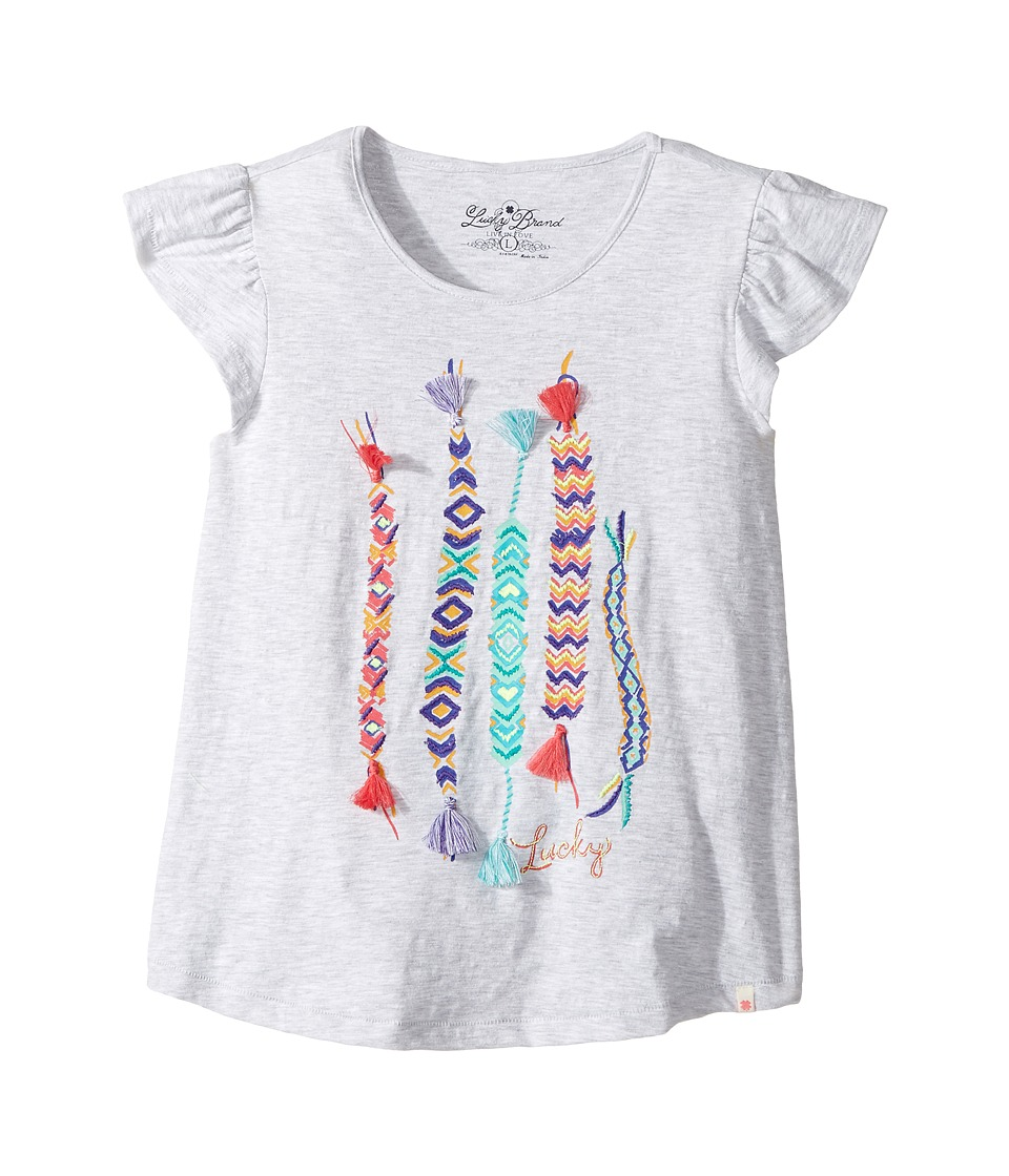 Lucky Brand Kids - Friendship Tee (Big Kids) (White Heather) Girl's T Shirt
