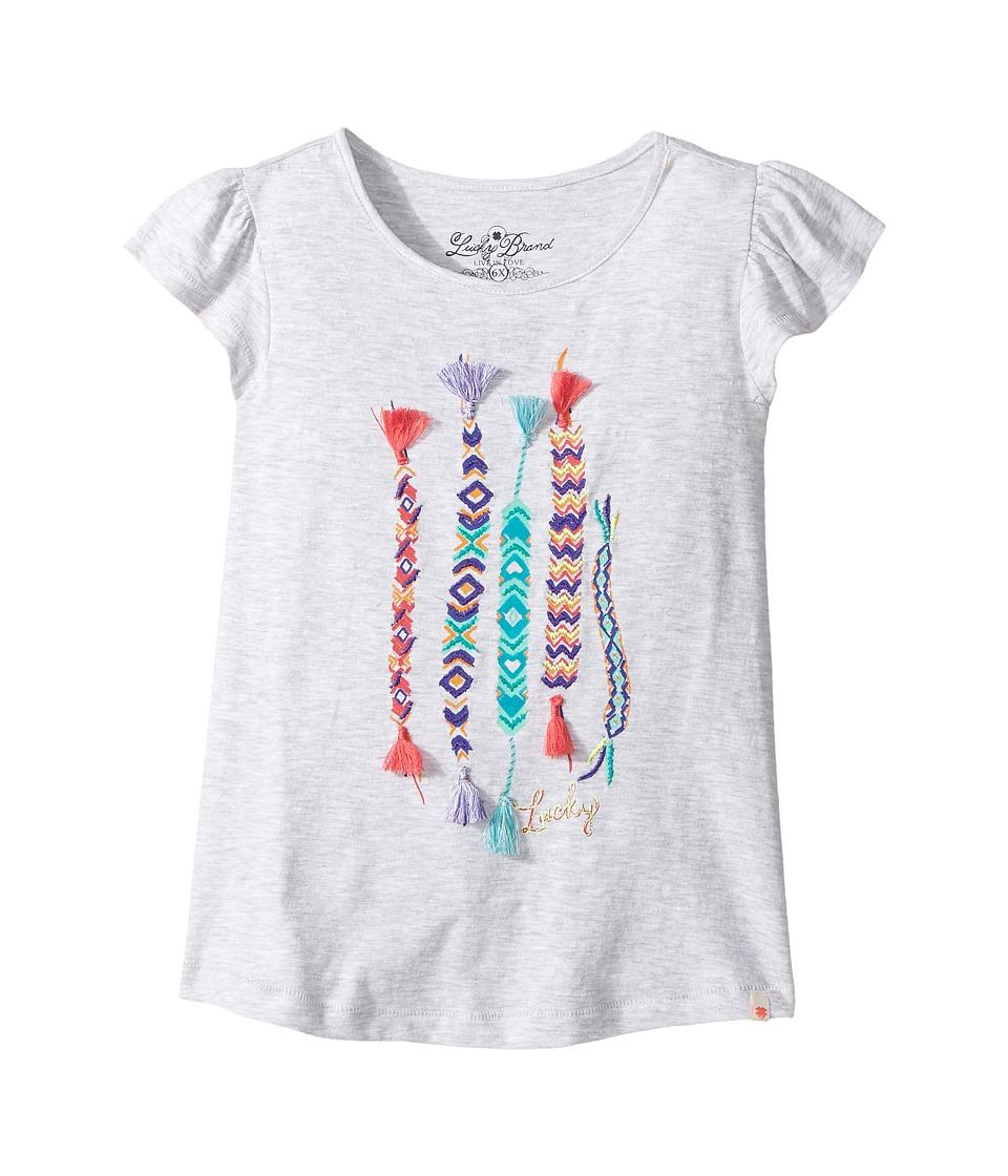 Lucky Brand Kids - Friendship Tee (Little Kids) (White Heather) Girl's T Shirt