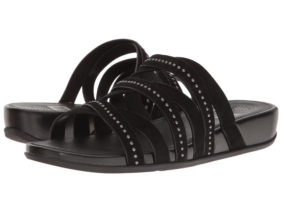 FitFlop Lumy Leather Slide w- Studs Black  Shoes