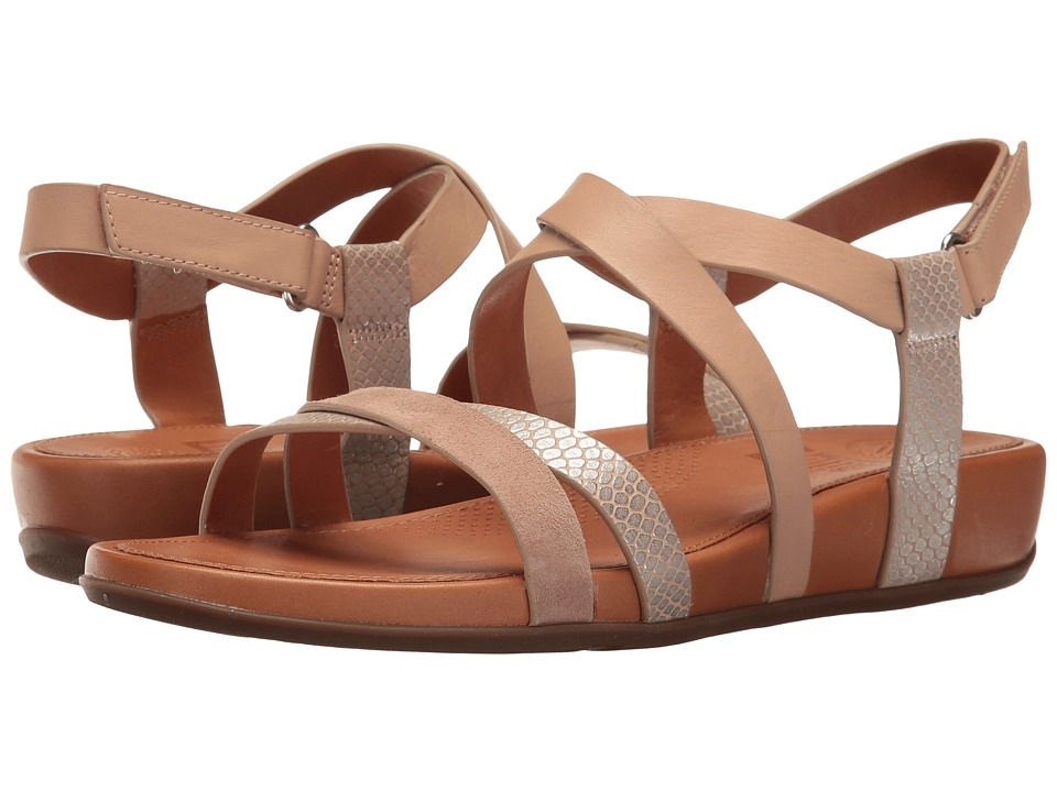 FitFlop Lumy Crisscross Sandals Peachy-Silver Snake  Shoes
