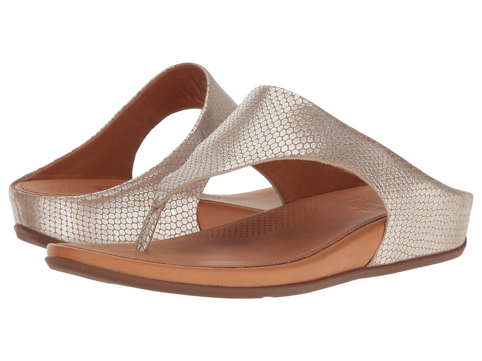 FitFlop - Banda Toepost (Silver Snake) Women's Shoes