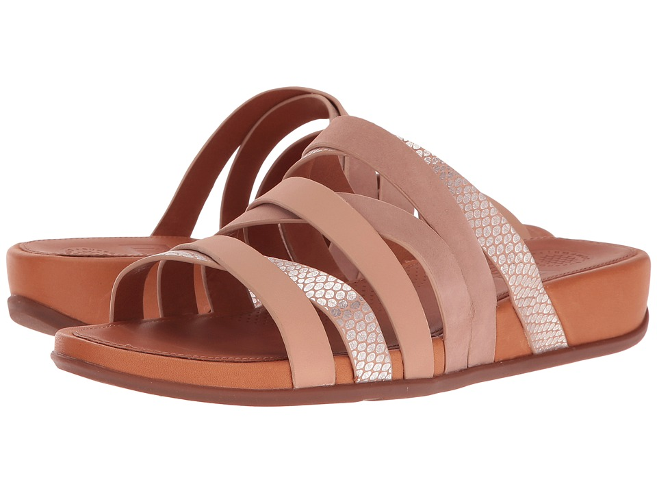 FitFlop Lumy Leather Slide Peachy-Silver Snake Slide Shoes