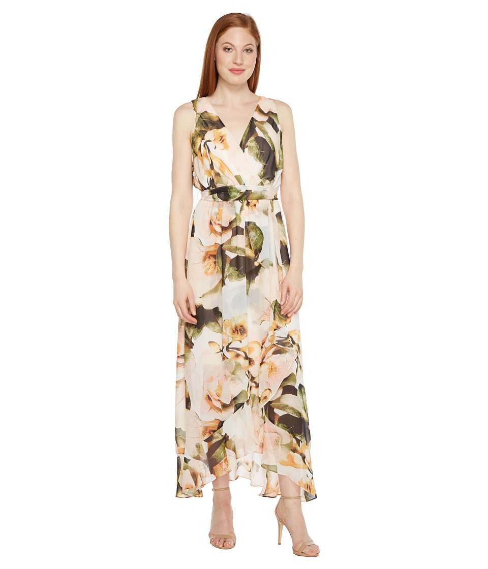 Sangria - Printed Chiffon Wrap Maxi Dress (Honeysuckle) Women's Dress