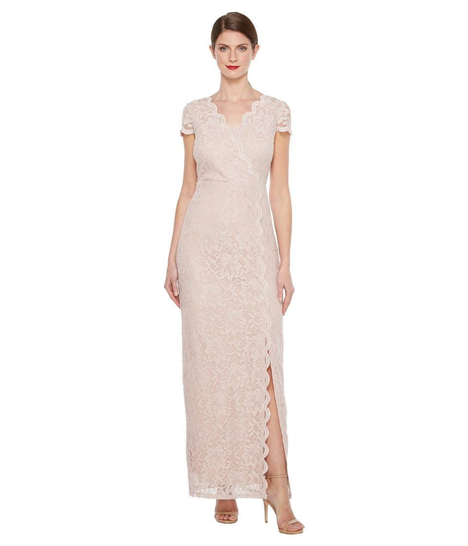 Sangria Short Sleeve Lace Gown with Slit (Mauve) Women