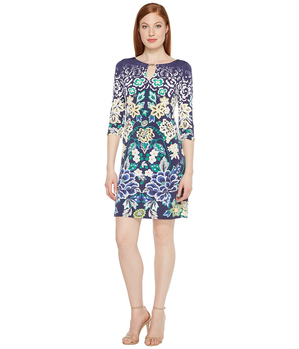 Sangria - Printed Shift Dress with Keyhole Neckline (Multi) Women's Dress