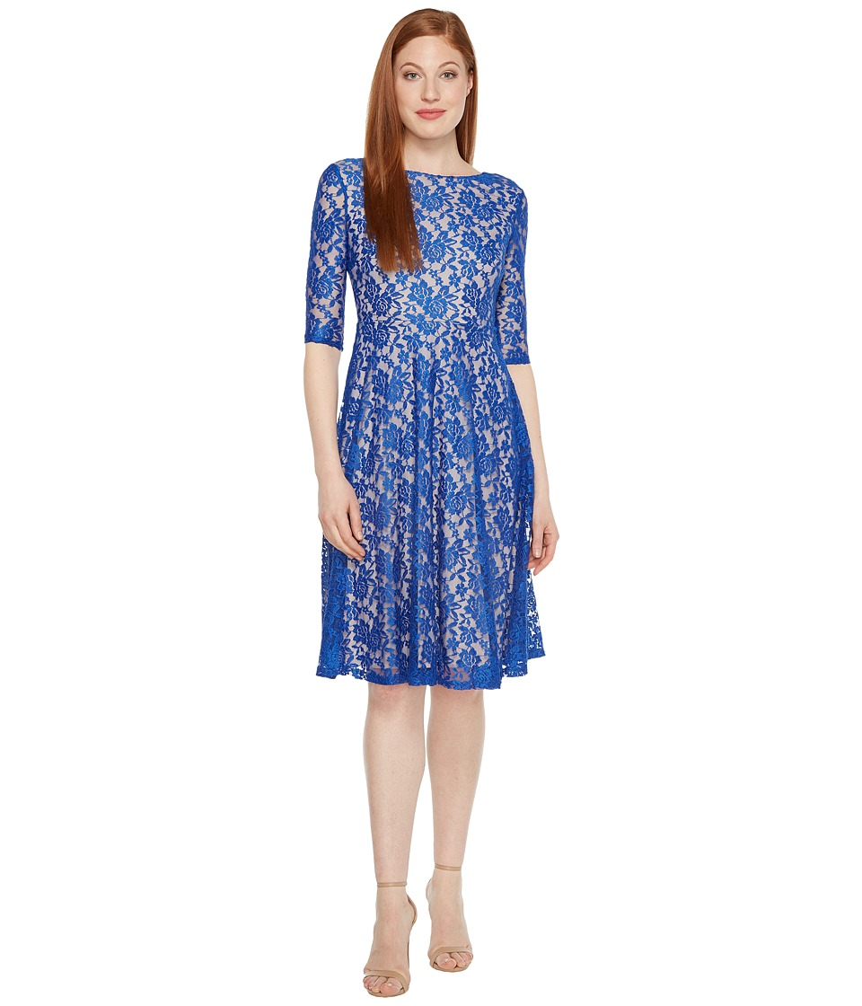 Sangria - 3/4 Sleeve All Over Lace High-Low Hem Fit Flare (Royal/Putty-1) Women's Dress