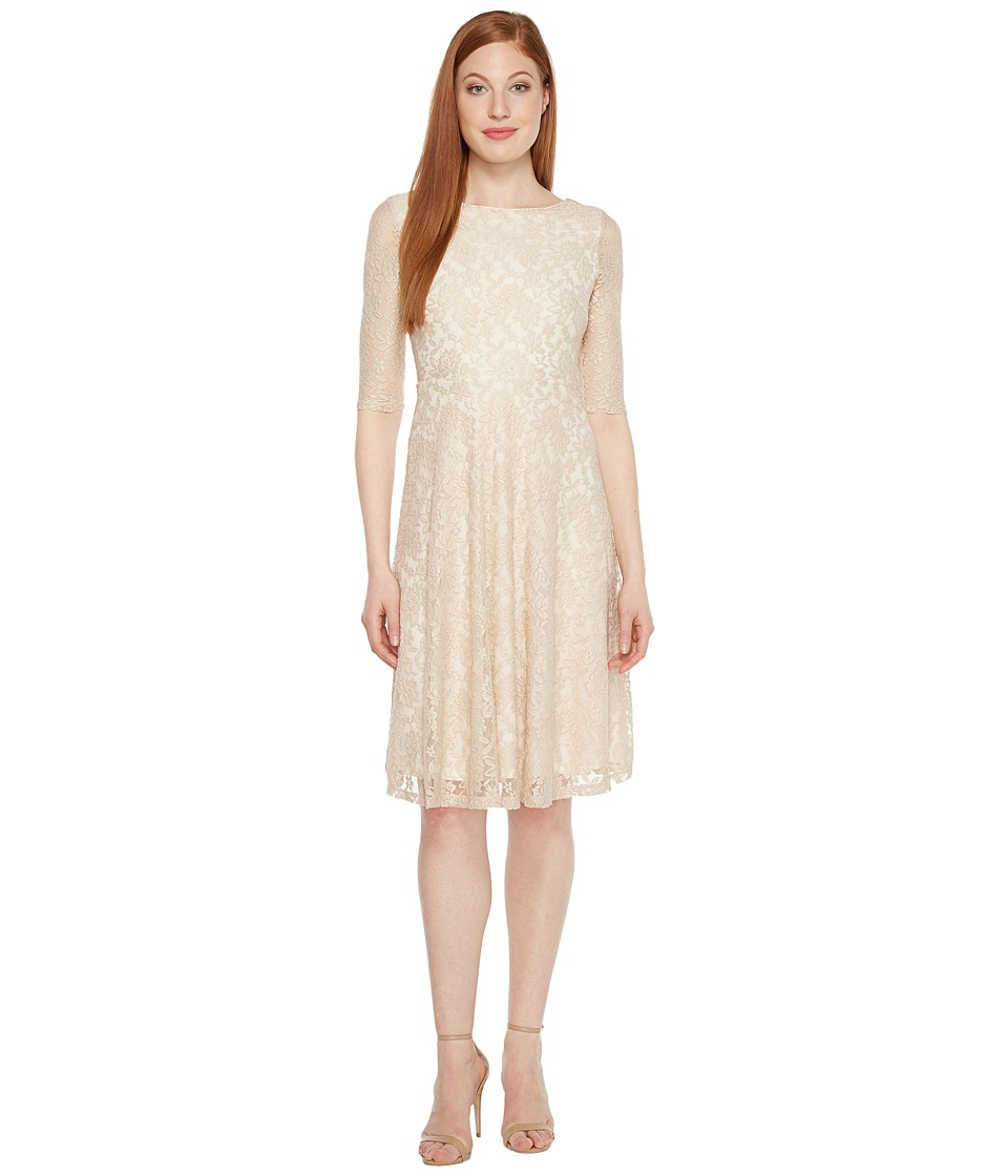 Sangria - 3/4 Sleeve All Over Lace High-Low Hem Fit Flare (Champagne/Ivory) Women's Dress