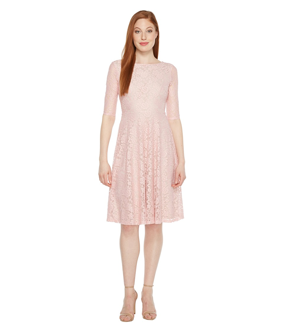 Sangria - 3/4 Sleeve All Over Lace High-Low Hem Fit Flare (True Blush) Women's Dress