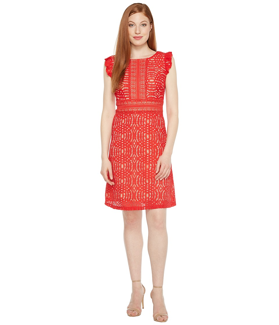Sangria Ruffle Sleeve Dress with Bodice Detail (Hot Red) Women