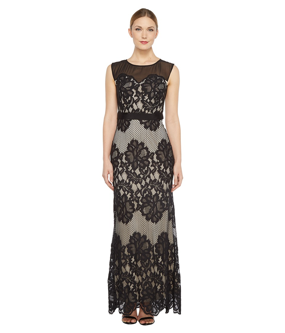 Sangria Sleeveless Lace Gown (Black/Putty) Women