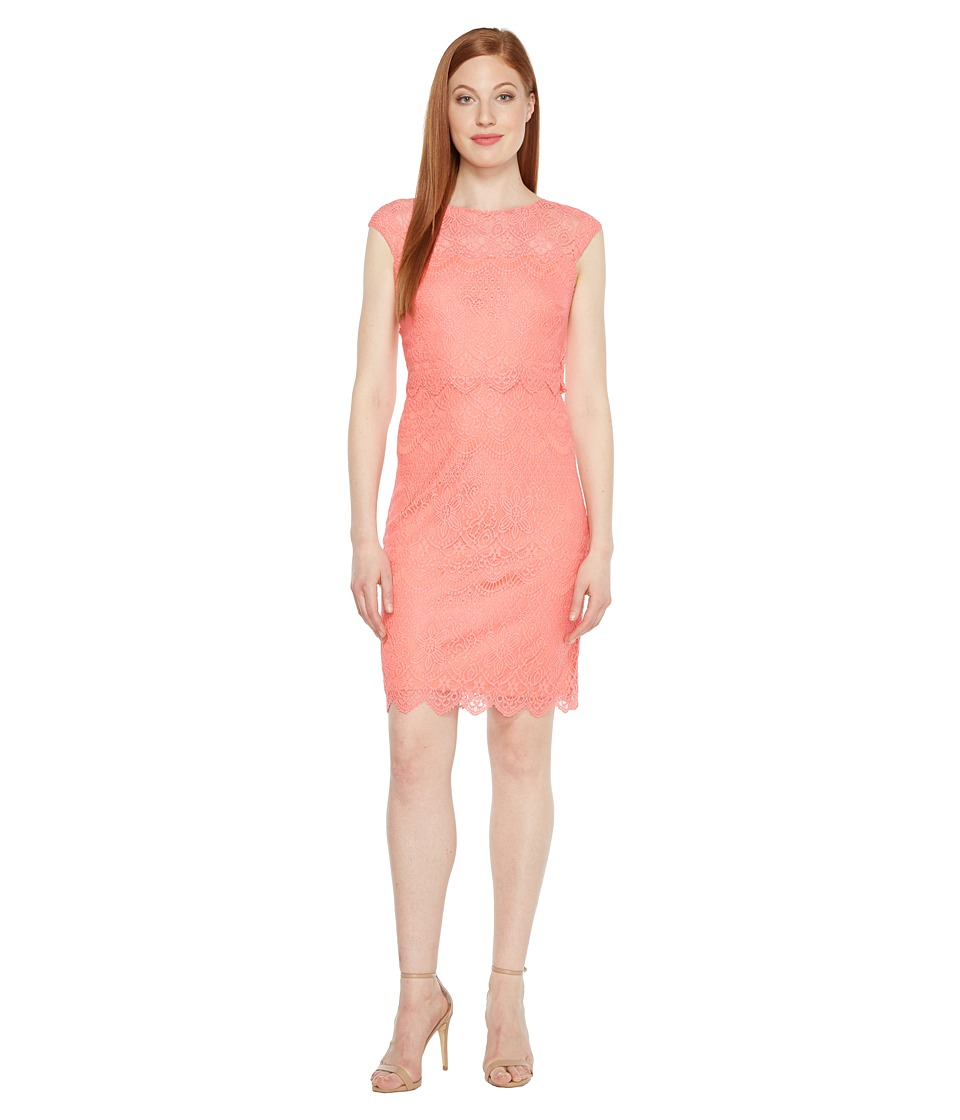 Sangria - Pop Over Coral Dress (Coral) Women's Dress