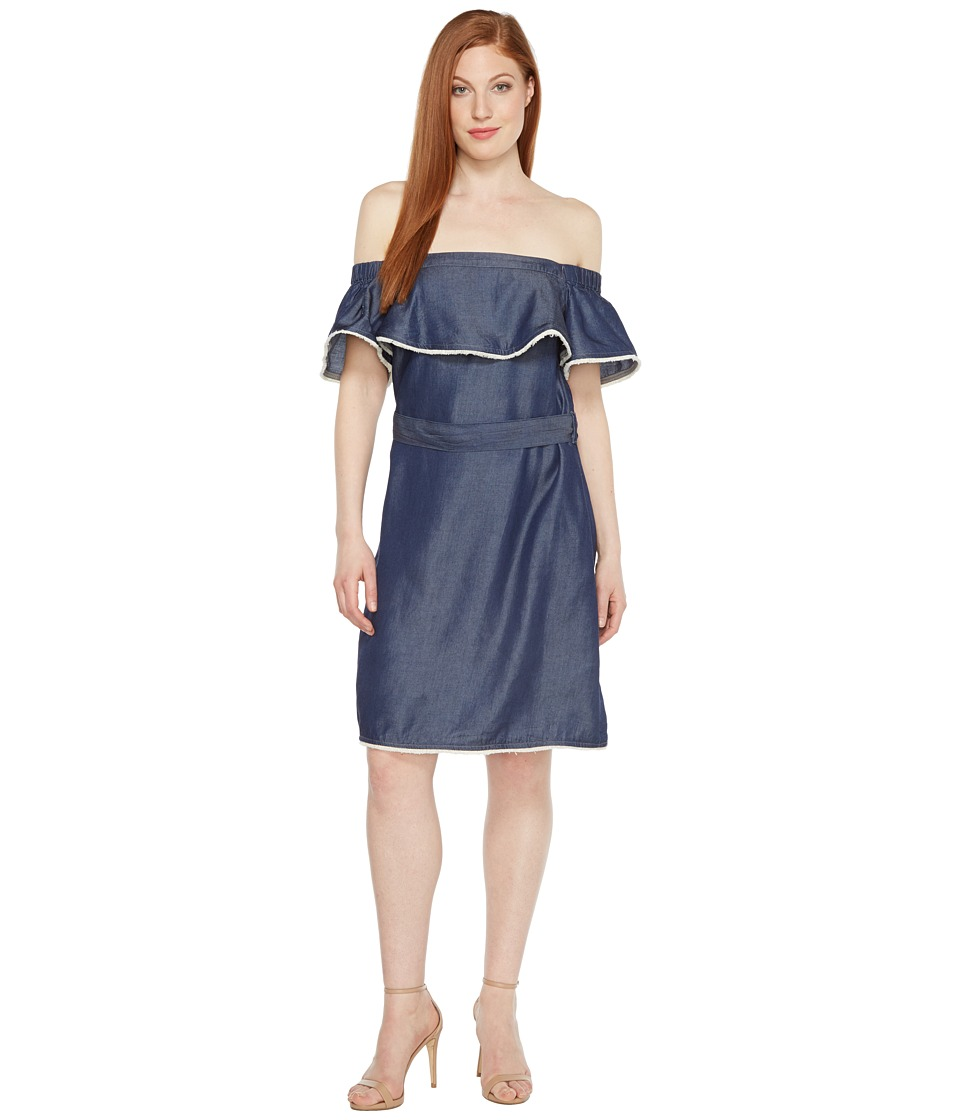 Sangria - Off the Shoulder Denim Dress with Ruffle Bodice (Indigo Wash) Women's Dress