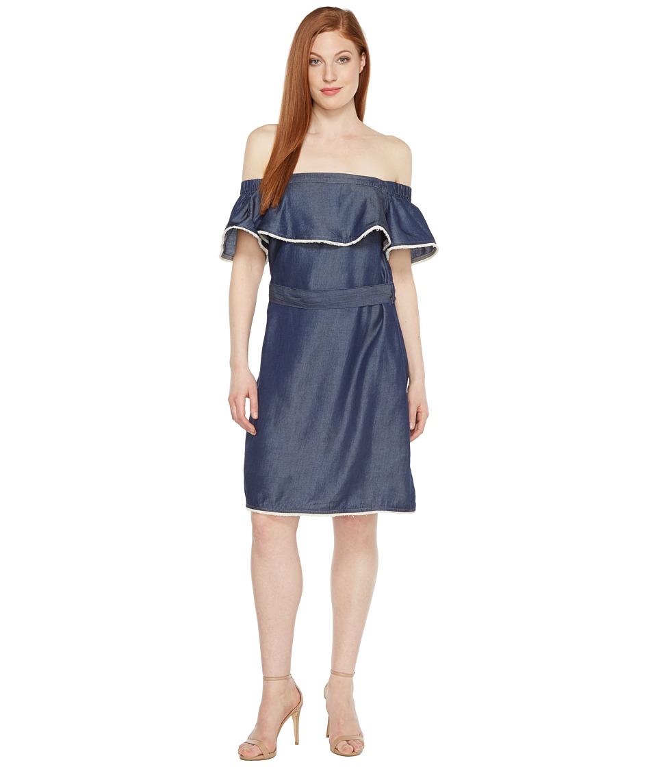 Sangria Off the Shoulder Denim Dress with Ruffle Bodice (Indigo Wash) Women