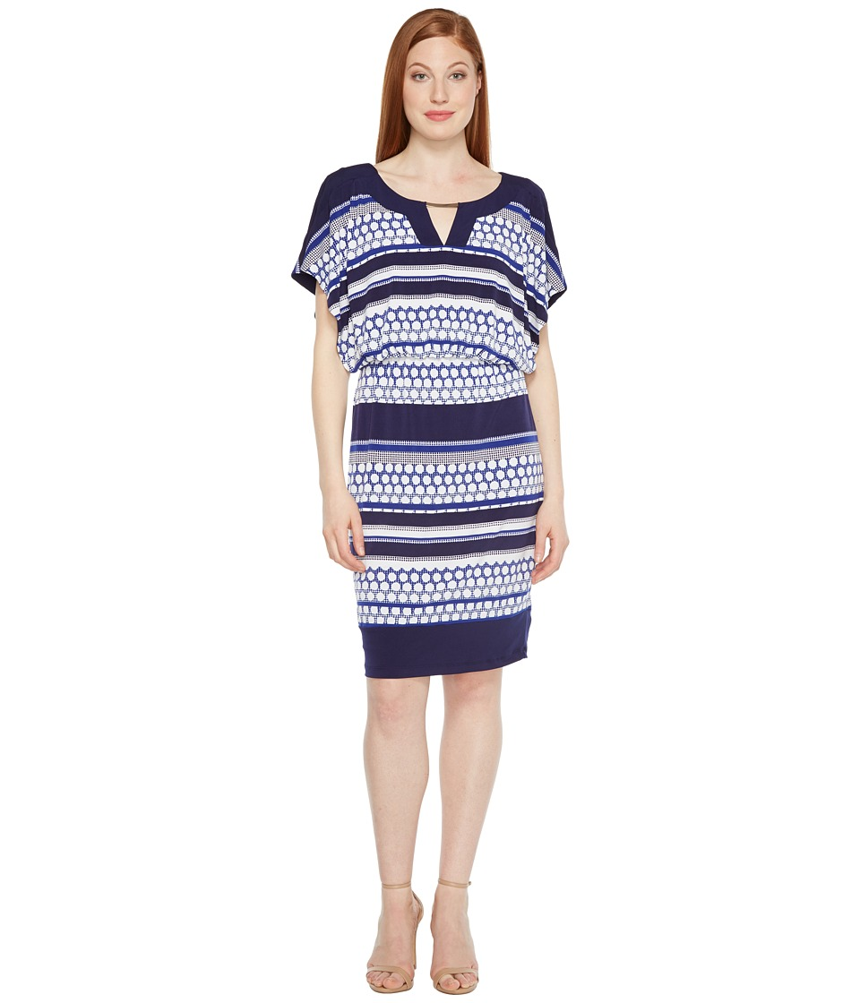 Sangria - Jersey Blouson Dress (Navy Multi) Women's Dress