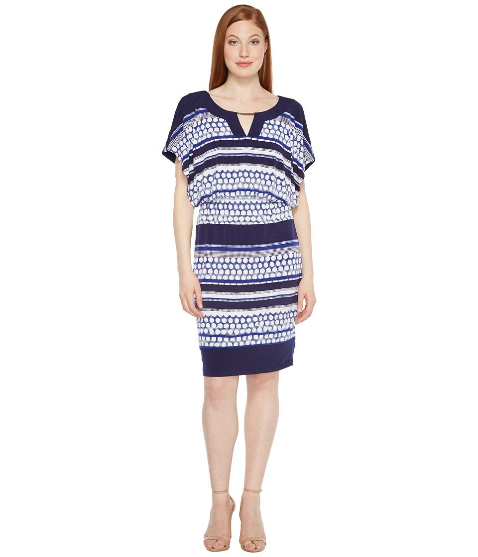 Sangria - Jersey Blouson Dress (Navy Multi) Women's Dress
