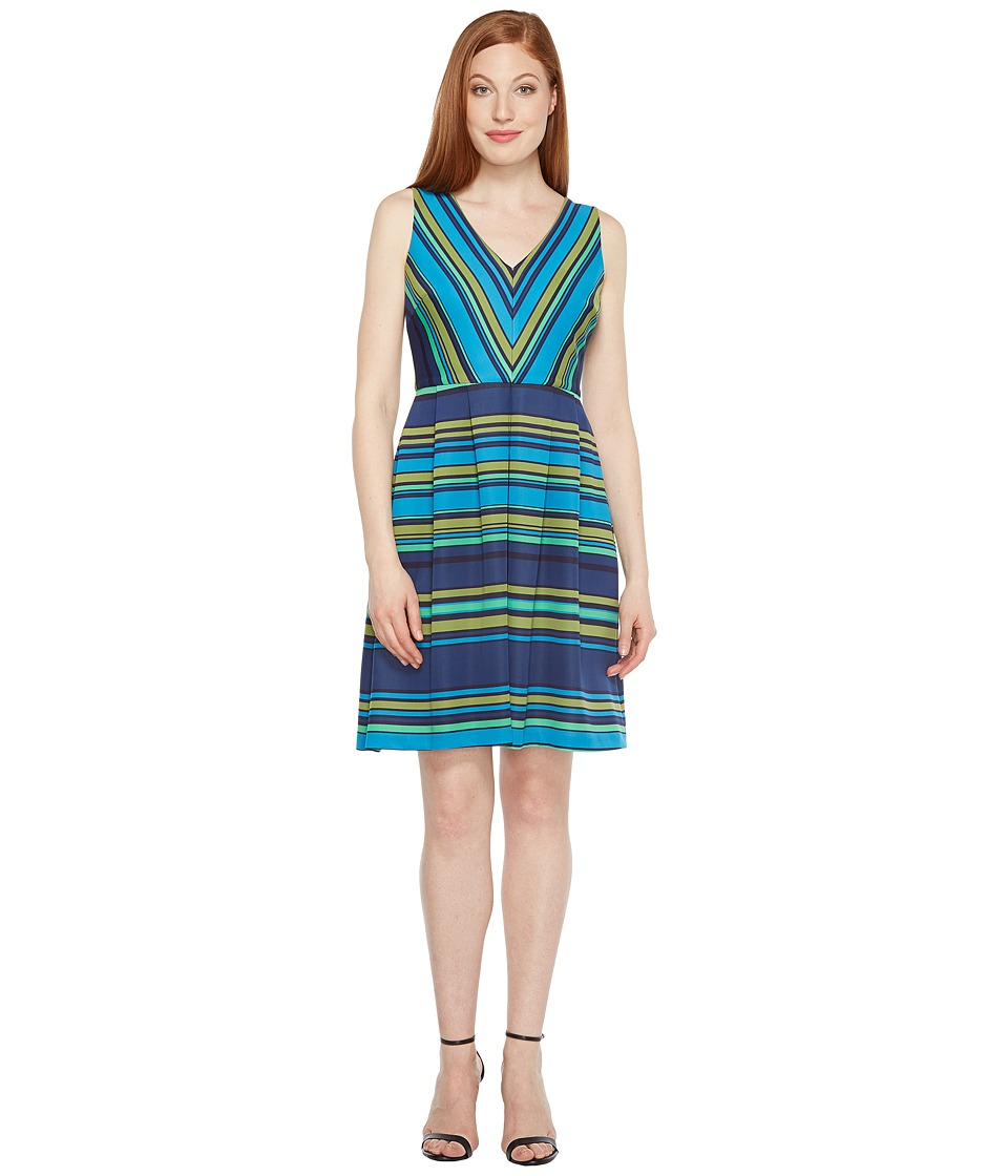 Sangria Sleeveless Striped Fit and Flare Dress (Multi) Women