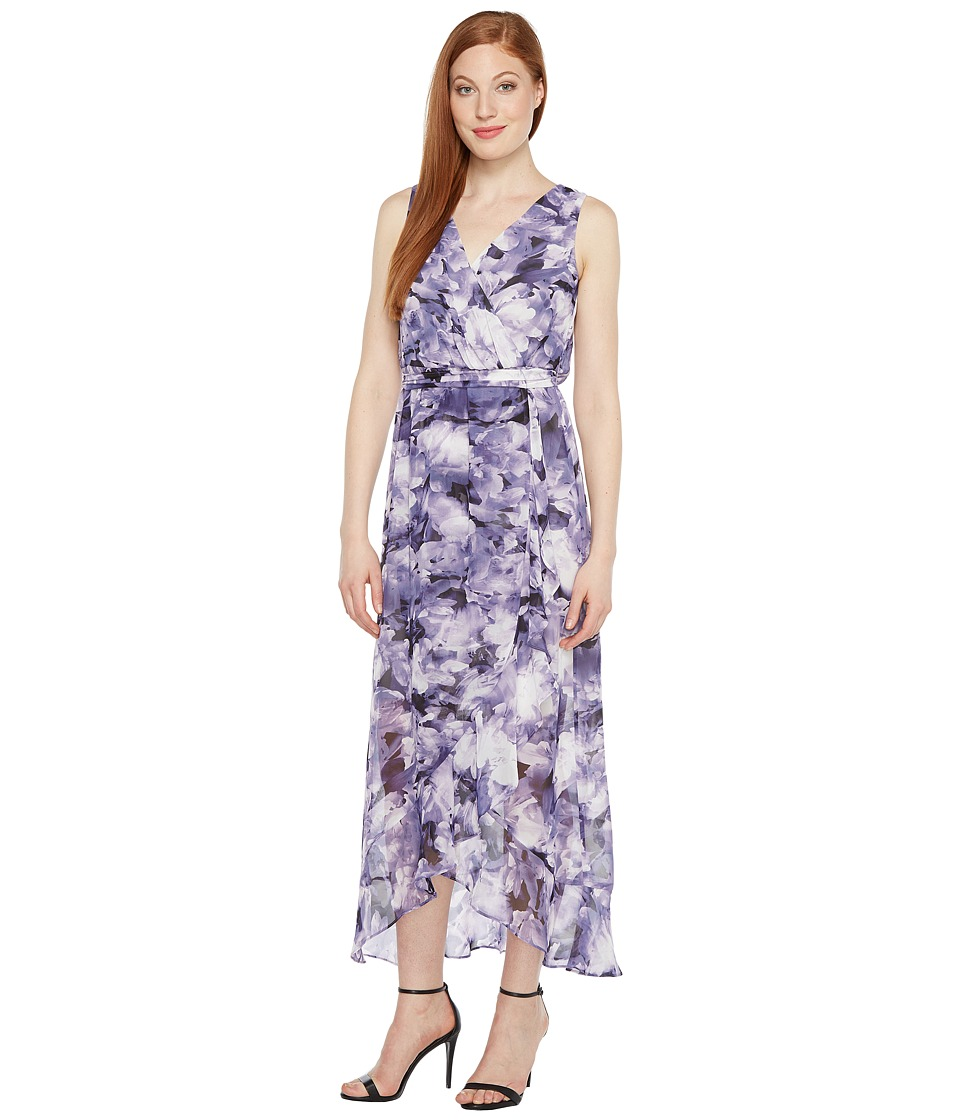 Sangria - Printed Chiffon Wrap Maxi Dress (Dusty Purple) Women's Dress