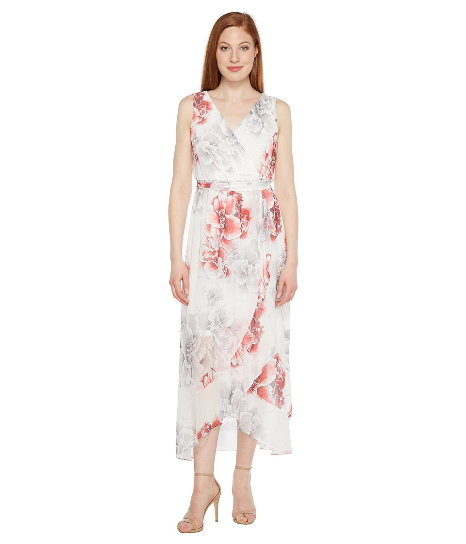 Sangria - Printed Chiffon Wrap Maxi Dress (Multi) Women's Dress