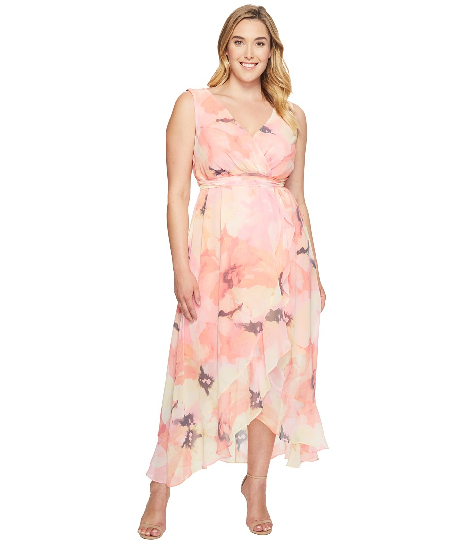 Sangria - Plus Size Printed Chiffon Wrap Maxi Dress (Melon) Women's Dress