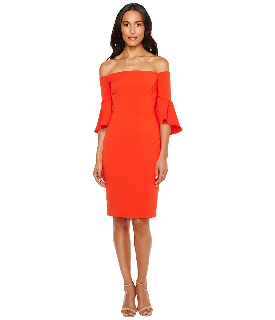 Laundry by Shelli Segal - Montreal Stretch Crepe Off the Shoulder Cocktail (Fiery Red) Women's Clothing