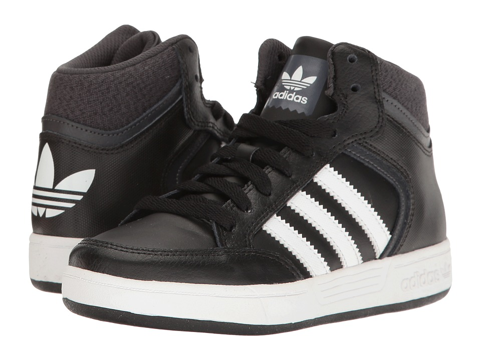 adidas Kids Varial Mid (Little Kid/Big Kid) (Black/White/Solid Grey) Kids Shoes